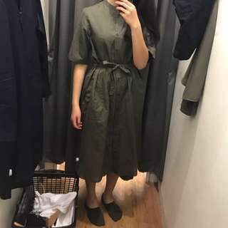Uniqlo army green midi dress