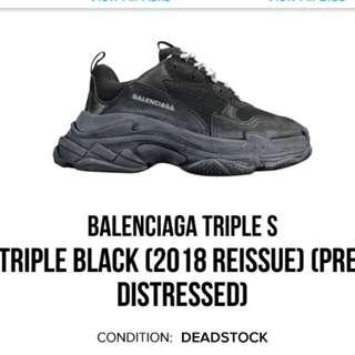 《ALL SIZES INSTOCK》Balenciaga Triple S Triple Black