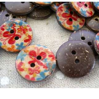 CB10027 - 18mm butrerfly printed coconut buttons (10 pieces)  #craft
