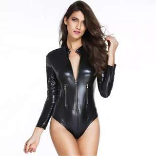 European New Design Sexy Women Faux Leather Bodysuit Zipper Long Sleeve Autumn Style Hot Bodysuit Women Combinaison Femme