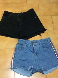 🚚 二手 高腰短褲 黑XL.藍S