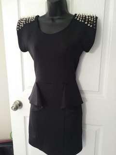 Black Peplum Spiked Shoulder Dress