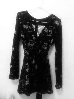 🚚 花雕鏤空綁帶縮腰洋裝