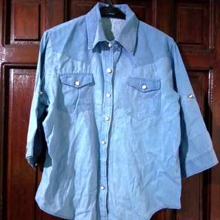 Blue Buttondown Long Sleeves Top With Collar