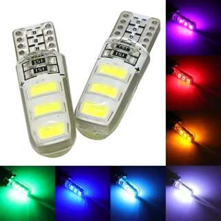 2pcs T10 W5W Silica Gel 6 SMD 5630 5730 LED car interior light WY5W 194 501 LED wedge parking dome bulbs Turn Side lamps 12V
