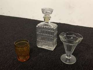 Vintage Liquor Bottle + Glasses