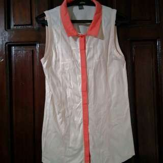 Plains and Prints Sleeveless Collared Top