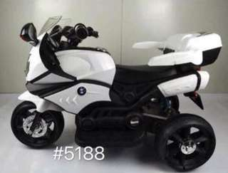 White Large BMW 5188 Rubber Tires Rechargeable Ride On Motorcycle Big Bike