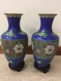 Jin tai lan 景泰蓝size 25cm height x 13cm width cloisonné vase