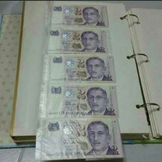 Money RUNNING # collector - PAPER notes President series Singapore currency *J