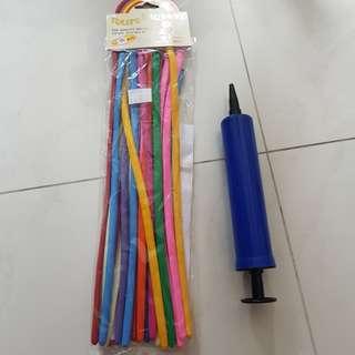 Tulip long balloon with one mini pump