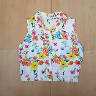 Top Picks Floral Cropped Polo