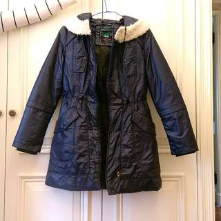 深藍中長版厚外套