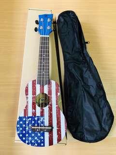 "Premium 21"" Soprano Kaka Brand High-gloss Wood Ukulele Free Carrier Bag and Free Extra Set of Strings - US flag"