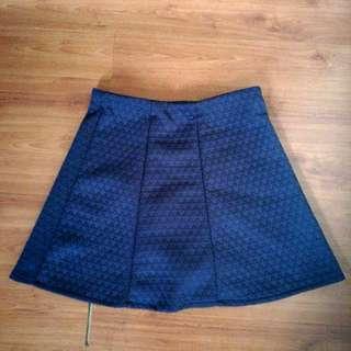 Navy Blue Textured Skater Skirt