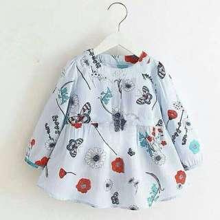 現-童滿版蝴蝶花朵薄長袖連身裙/連衣裙/洋裝