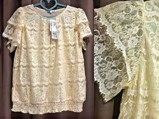 Blouse Branded Murah Attention Yellow Lacey Blouse Brukat Pesta Murah