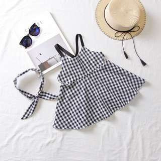 Instock - Korean Trendy 1 Set Classic Check Dress including Hairband