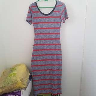 Red/Blue Stripes Maxi dress