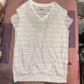 韓組~白色透明條紋造型水鑽上衣