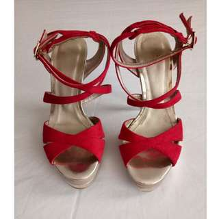 "5"" Red Strappy High Heels"