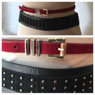 2 Belts (red leather and black studded)