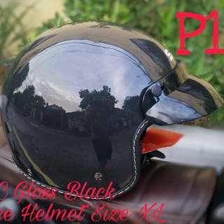 SEC Gloss Black Half-face Helmet Size XL