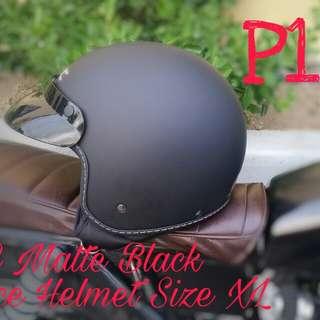 SEC Matte Black Half-face Helmet Size XL