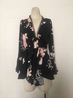 Women's black floral play suit