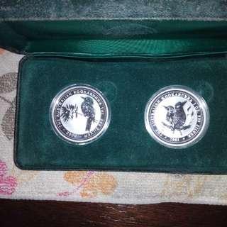 2000 & 2001 Kookaburra 1oz silver