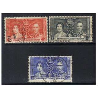 STRAITS SETTLEMENT 1937 CORONATION used BL557
