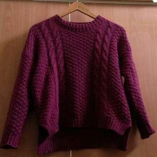 暗紫色 圖騰毛衣 開衩