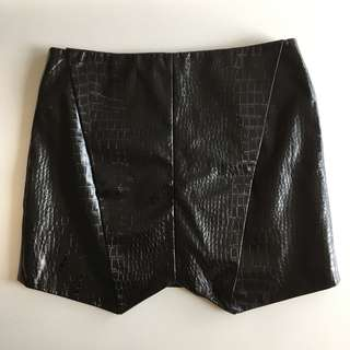 Cameo PU Leather Snakeskin Skirt