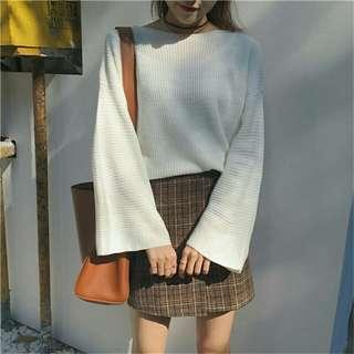 全新 春季 長袖 寬鬆 喇叭袖 毛針織白色毛衣
