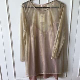Gold & Pink Sheer Slip Dress
