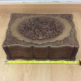 Vintage Antique Wooden solid Box with Beautiful Carving & very special Lock