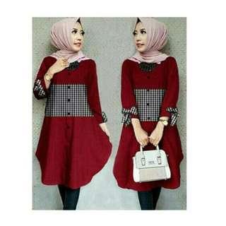 Tunik Pita Katun Rayon Casual Wanita Kombinasi Katun Kotak - Merah
