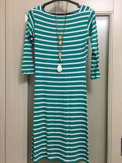 Green and white stripe stretchable dress