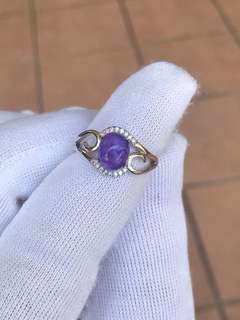Natural Charoite Sterling Silver Ring 紫龙晶银戒指