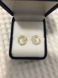 Circle studs - sterling silver and cubic zirconia