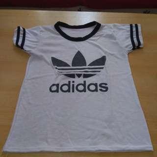 Round neck adidas white shirt