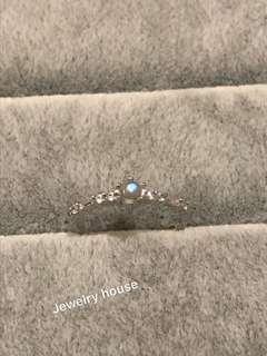 天然月亮石銀戒指