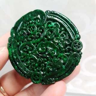 Burmese Type A Full Green Jadeite Jade Pendant
