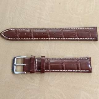 真皮錶帶leather watch band18mm 啡色十白線