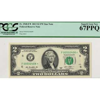 Two U.S. $2 Star Note ( Running Numbers ) Superb Gem New-PCGS 67 PPQ