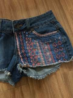 Aztec Ripped Shorts