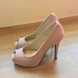 Nude Pink Open Toe High Heels