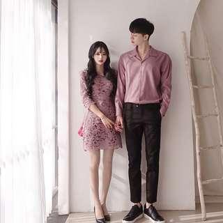 情侶裝@喜宴聚會生日蕾絲洋裝素色襯衫