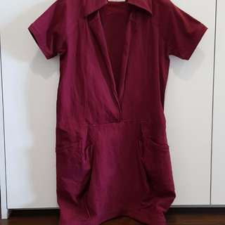 Initial dress tunic wine color
