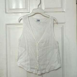 🍍White See-through sleeveless Top